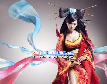 Internet Games Liao Zhai Beauty Costumes and Wig Complete Set