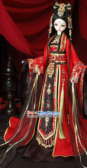 Traditional Ancient Chinese Wedding Dress, Hair Accessories and Earrings Complete Set