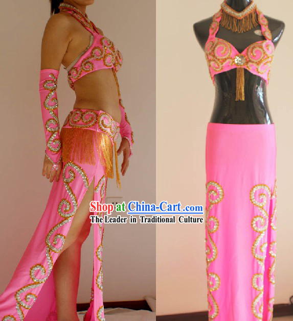 Professional Competition Pink Belly Dance Costumes Complete Set for Women
