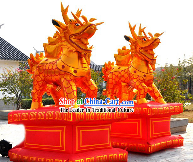Large Chinese Golden Opening Inflatable Kylin
