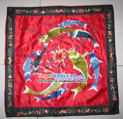 Lucky Red Hands Embroidered Fishes Cushion Cover of Chinese Traditional Wedding