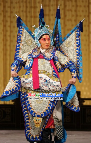 Peking Opera Zhao Yun Da Kao Armor Dress and Hat Set for Men