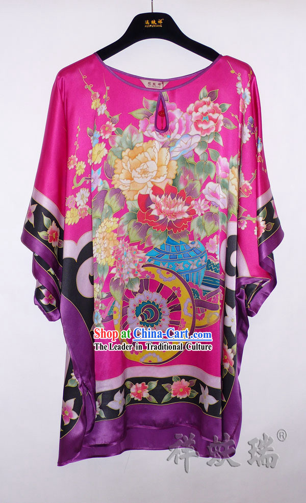 Rui Fu Xiang Hand Painted Silk Peony Blouse for Women