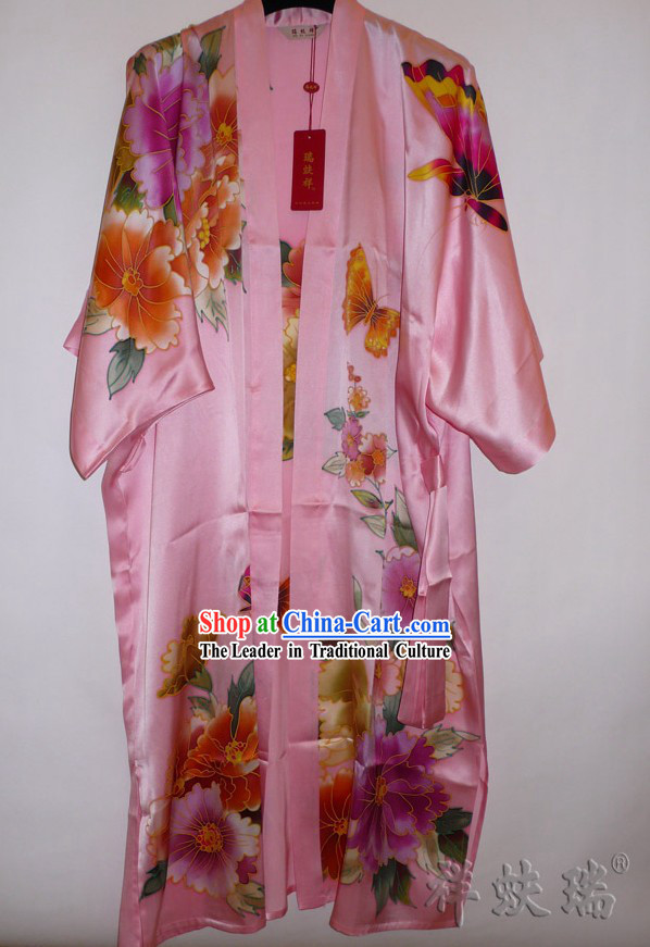 Rui Fu Xiang Hand Painted Butterfly Silk Gown for Women