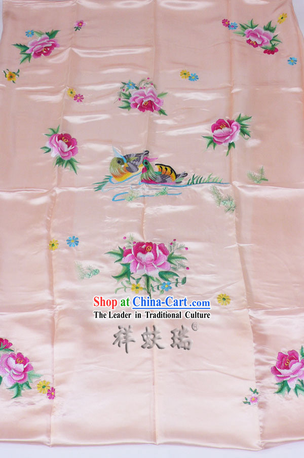 Beijing Rui Fu Xiang Silk Pink Embroidered Wedding Bedcover Set