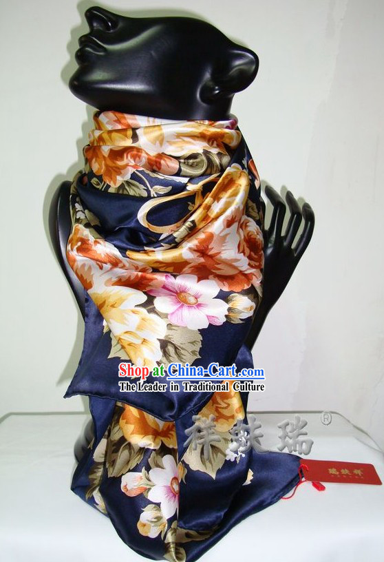 Chinese Beijing Rui Fu Xiang Traditional Flower Silk Scarf