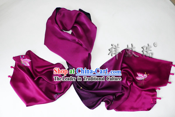 Chinese Rui Fu Xiang Silk Hand Embroidered Butterfly Scarf