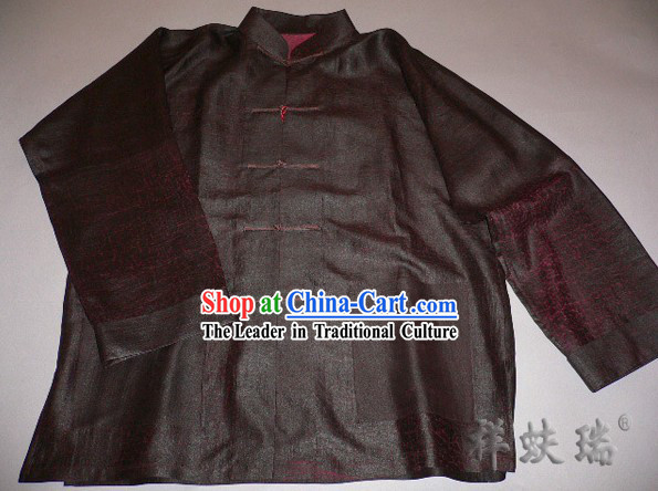 Famous Time-honored Rui Fu Xiang Watered Gauze Tang Suit for Men