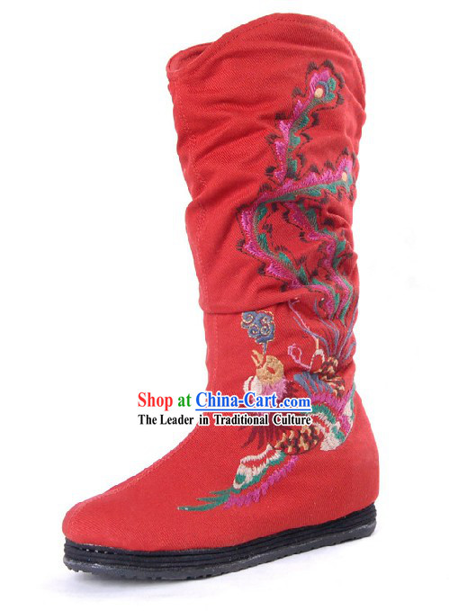 Chinese Handmade Wedding Phoenix Embroidered Boots
