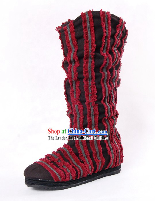 Traditional Chinese Handmade Folk Cotton Boots