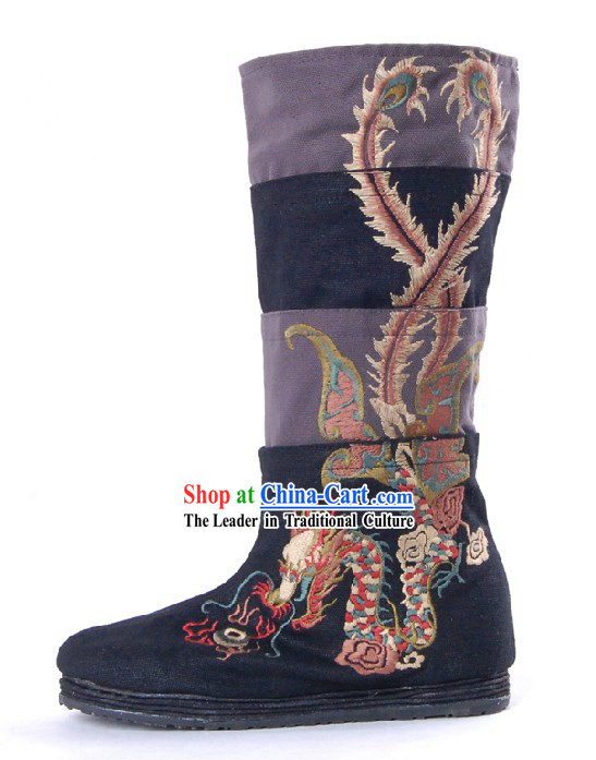 Traditional Chinese Handmade Embroidered Dragon Phoenix Boots