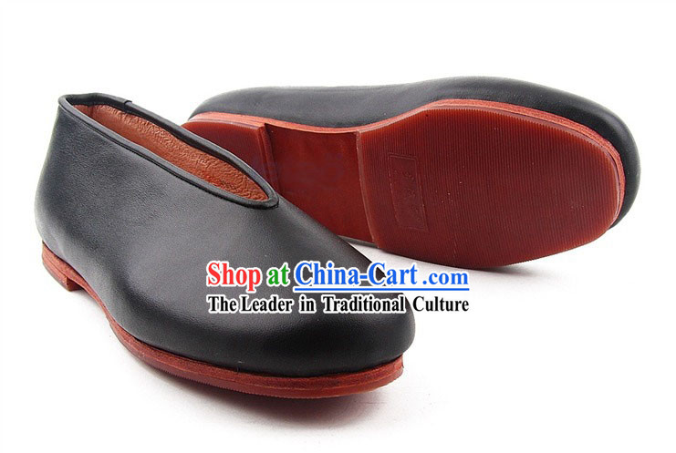 Traditional Chinese Beijing Bu Ying Zhai Cow Leather Black Shoes