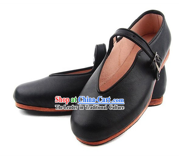 Chinese Classic Handmade Bu Ying Zhai Mulan Cow Leather Shoes for Women