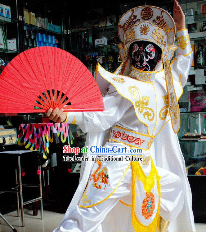 Chinese Mask-changing Magician Costumes Hat Masks Music CD and Teaching DVD Ccomplete Set