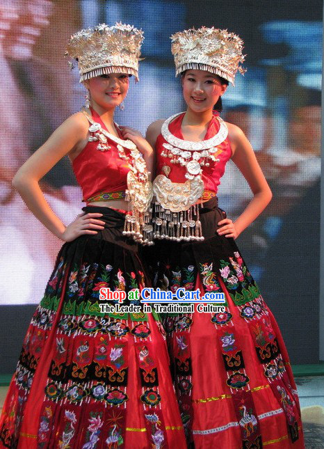 Chinese Miao Dancing Costumes Complete Set