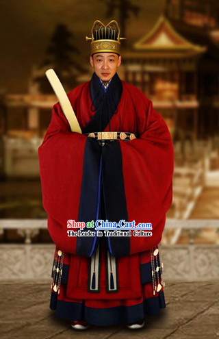 Ancient Chinese Official Court Dress and Hat Complete Set