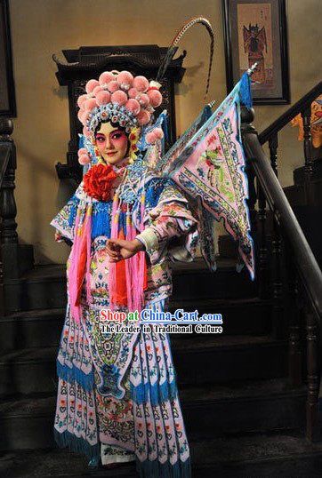 Chinese Peking Opera Da Kao Armor Costumes and Helmet Full Set for Women