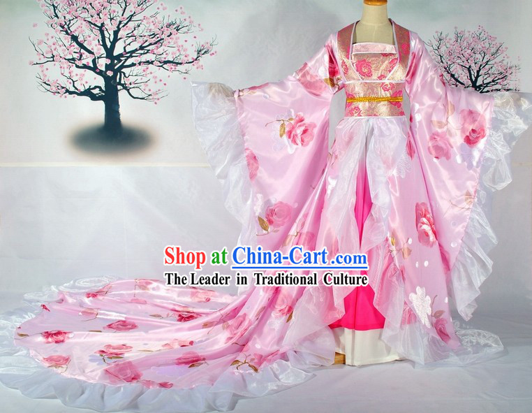Long Tail Traditional Chinese Bride Wedding Dress Complete Set
