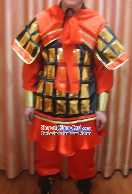 Ancient Chinese Terra Cotta Terracotta Warrior Costume and Hat Complete Set