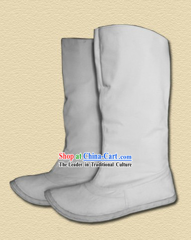 Ming Dynasty Horse Riding White Boots for Men