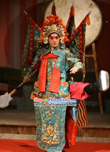 Beijing Opera Wu Sheng Clothing and Hat and Flags