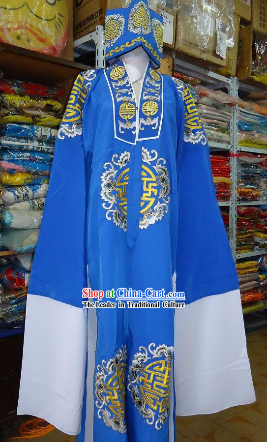 Chinese Beijing Opera Lao Sheng Embroidered Flower Robe
