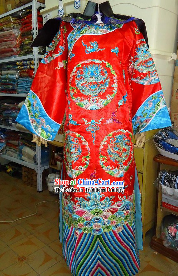 Peking Opera Emperor Embroidered Dragon Wedding Costumes for Men