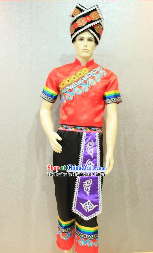 Traditional Chinese Zhuang Clothing and Hat Complete Set