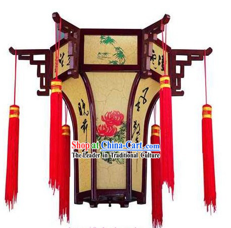 Traditional Chinese Wooden and Parchment Palace Lantern