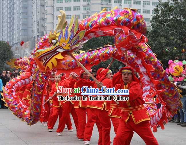 Happy Festival Celebration Red Rainbow Competition and Parade Dragon Dance Costumes Complete Set