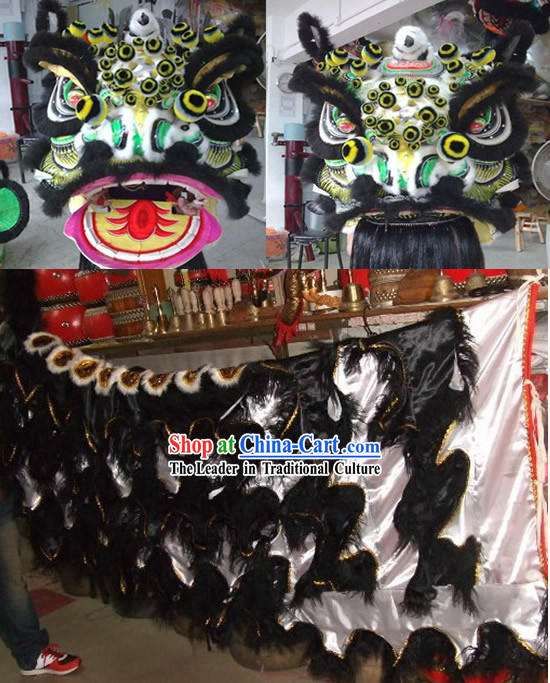 Chinese Classical FUT SAN Zhang Fei Lion Dance Costume Complete Set