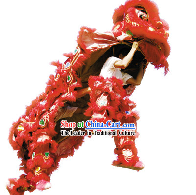 Beijing Olympics Games Opening Ceremony Red Sheep Fur Lion Dance Costume Complete Set