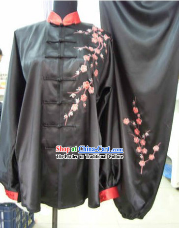 Traditional Chinese Silk Embroidered Plum Blossom Tai Chi Suit