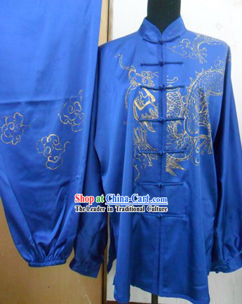 Traditional Chinese Silk Dragon Martial Arts Competition Suit for Men