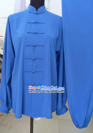 Chinese Classic Blue Silk Kung Fu Suit for Men or Women