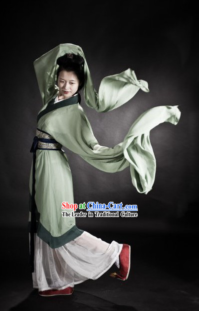 Ancient Chinese Beauty Water Sleeve Dance Costumes Complete Set