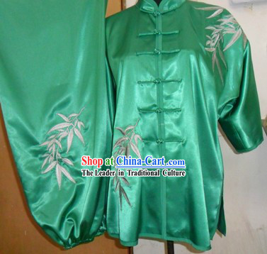 Traditional Chinese Silk Bamboo Kung Fu Uniforms for Men