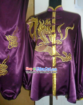 Traditional Chinese Long Sleeve Dragon Silk Kung Fu Suit