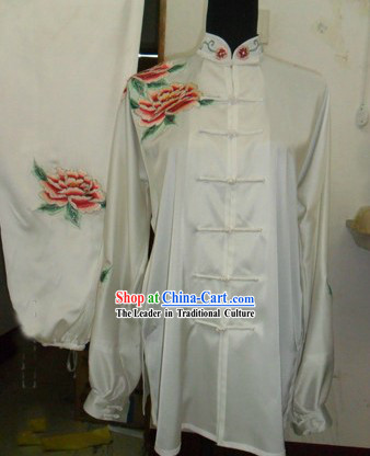 Chinese Embroidered Peony Silk Kung Fu Suit