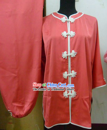 Chinese Red Silk Kung Fu Suit