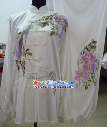 Chinese Puprle Flower Silk Kung Fu Dress Set