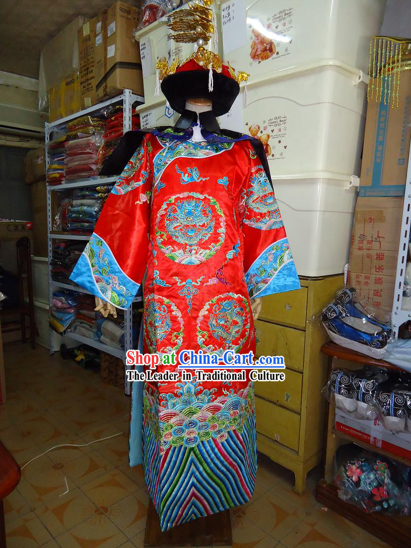 Ancient China Qing Dynasty Empress Phoenix Costumes and Hat Whole Set