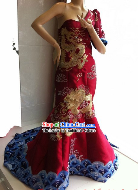 Stunning Chinese Embroidered Dragon Evening Dress for Women