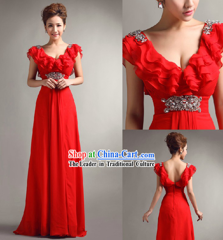 Stunning Chinese Red Bride Evening Dress