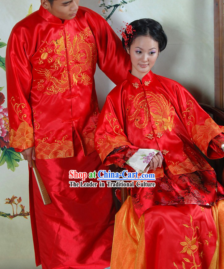 Traditional Chinese Red Dragon and Phoenix Wedding Dresses 2 Sets for Brides and Bridegrooms