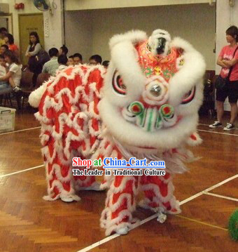 Red Base White Wool Top Lion Dance Head and Costume Complete Set