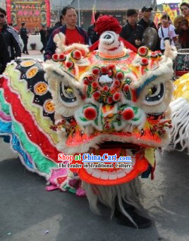 Ancient Old Style FUT SAN Southern Liu Bei Lion Dance Head and Costume Complete Set