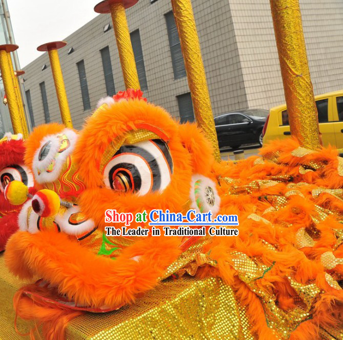Supreme Luminous Orange Wool Lion Dance Costume Complete Set
