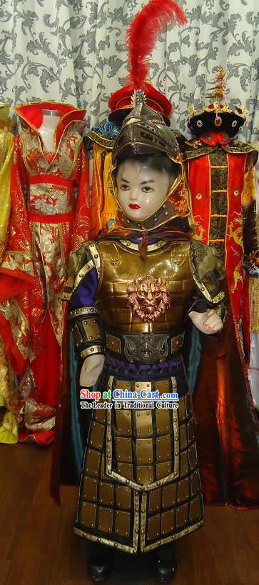 Ancient Chinese General Armor Costume and Helmet for Kids