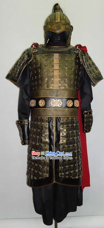 Ancient Chinese Three Kingdom General Armor Costume and Helmet for Men